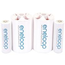 "eneloop Panasonic K-KJS1MCA2BA D Size Battery Adapters with eneloop AA 2100 Cycle Ni- MH Pre-Charged Rechargeable Batteries, 2 Pack with 2""D Adapters"