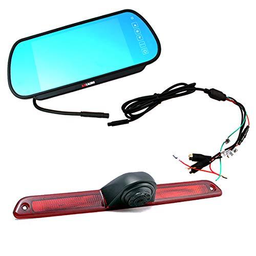 KNRAGHO Compatible with Brake Light Backup Camera B E N Z Sprinter/V W Crafter Vans LED Light Parking (with Monitor)