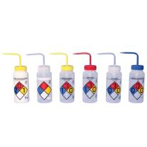 Bel-Art Right-to-Know Safety-Vented/Labeled Assorted 4-Color Wide-Mouth Wash Bottles; 500ml (16oz), Polyethylene w/Polypropylene Cap (Pack of 6) (F11816-0050)