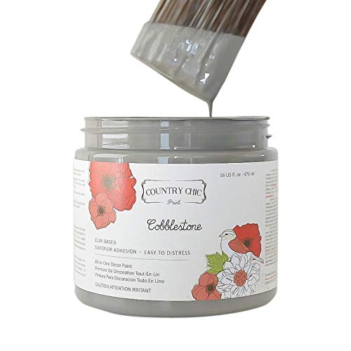 Chalk Style Paint - for Furniture, Home Decor, Crafts - Eco-Friendly - All-in-One - No Wax Needed (Cobblestone [Grey], Quart (32 oz))