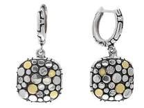 EFFY 925 STERLING SILVER/18K YELLOW GOLD DIAMOND EARRINGS
