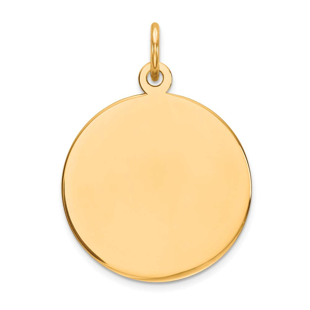 14k Yellow Gold Round Disc Pendant Charm Necklace Engravable Plain Fine Mothers Day Jewelry For Women Gifts For Her