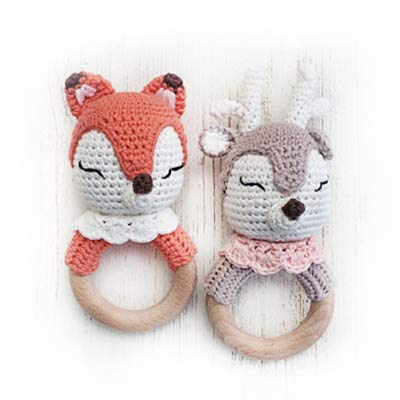 Natural Crochet Teether Toy Rattle for Baby Forest Friends Amigurumi Crochet Bunny Deer Fox on Natural Wooden Teething Ring Rattle and Beaded Pacifier Clip (2pk Honey Deer & Foxy)