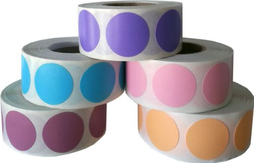"""3/4"""" .75 Color Coding Dot Stickers Pastel Collection 500 of Each Pink Peach Dusty Rose Purple Teal 2,500 Total Labels"""