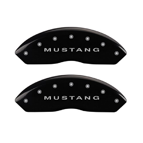 MGP Caliper Covers 10198SMBPBK Black Brake Covers Engraved with Silver Mustang/Bar & Pony (S197) (Set of 4)
