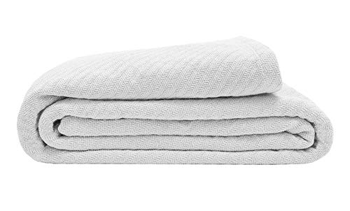 Elite Home 100% GOTS Certified Organic Cotton Super-Soft Bed/Throw Blanket, White, Full/Queen