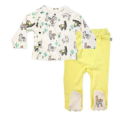 Finn + Emma Organic Cotton Baby Kimono Shirt and Footed Pants Set - Llamas, 0-3 Months