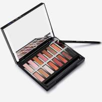 Nudetude Eyeshadow Palette Makeup Kit, 16 Pro Pigmented Shimmer Matte Glitter Eye Shadow + 24 LED Lighted Makeup Mirror Dimmable,Tan Red Plum Gold Large Smoky Neutral Pallet For Cosmetic Eye Look
