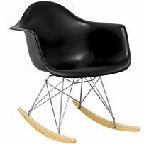 Mod Made Mid Century Modern Paris Tower Rocker Rocking Chair, Black