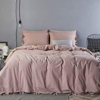 JELLYMONI 100% Pink Washed Cotton Butterfly Bow tie Duvet Cover Set Queen, 3 Pieces Ultra Soft Bowknot Comforter Cover