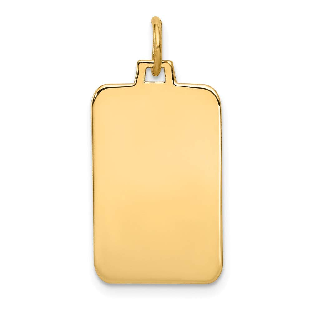 14k Yellow Gold .009 Gauge Engravable Rectangular Disc Pendant Charm Necklace Square Rectangle Fine Jewelry For Women Gifts For Her