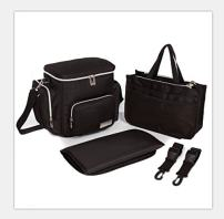 Knuddelstuff Stylish 'Winslow' Small Toddler Travel Designer Diaper Bag - Stroller Clips – Insulated Pocket – Nappy Changing Handbag, Black…