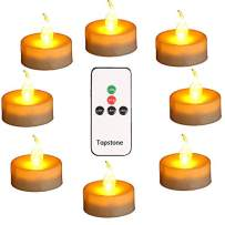 Topstone Led Tealight Candles with Remote and Timer,Warm Yellow Flameless Candles,Big Capacity Battery Operated Tea Light,,Best for Wedding and Festival Decoration,Pack of 12