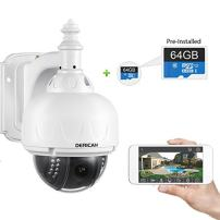 Dericam Outdoor Wireless Security Camera, PTZ Camera, 4X Optical Zoom, Auto-Focus, 1.3 Megapixel, Pre-Installed 32GB Memory Card, S1-32G2, White.