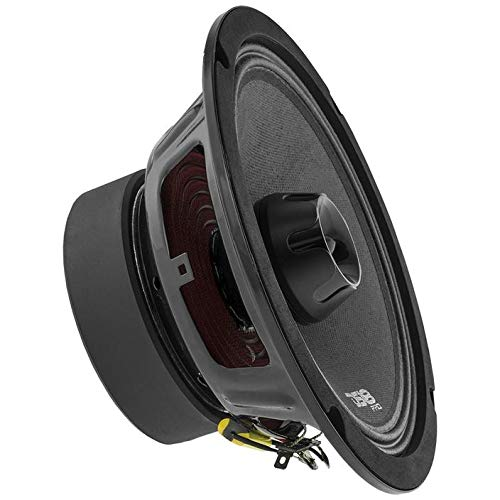 "DS18 PRO-ZT8 Speaker - 8"", 2-Way Pro Audio Midrange with Built-in Bullet Tweeter, 550W Max, 275W RMS, 4 Ohm, Red Metal Mesh Grill Included - Premium Quality Audio Door Speakers (1 Speaker)"