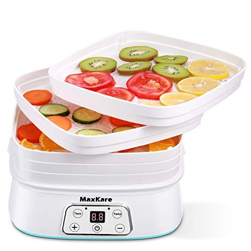 Maxkare Food Dehydrator Machine Digital Multi-Tier Food Preservation Device with Temperature and Time Setting Dried Fruits/Vegetables/Meat Maker 5 Removable and Stackable Drying Trays BPA Free