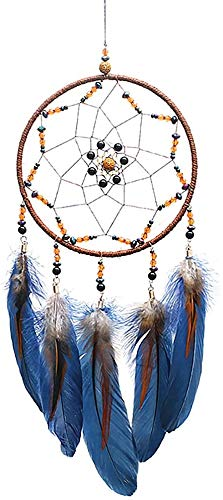 iceagle Dream Catcher Boho Dream Catcher for Boys Native American Dreamcatchers Traditional Handmade Dream Catchers for Bedroom, Hanging Wall Decor Blessing Gift (Navy Blue)