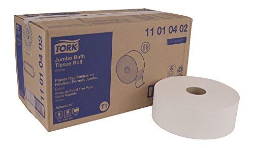 """Tork Advanced 11010402 Jumbo Bath Tissue Roll, Perforated, 1-Ply, 10"""" Diameter, 3.55"""" Width x 7.875"""" Length, White (Case of 6 Rolls, 3,424 Sheets per Roll, 20,544 Sheets)"""