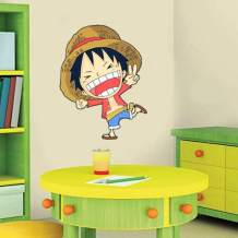 One Piece Wall Decal Stickers Monkey D. Luffy Stare Cartoon Decal Stickers for Boys Room One Piece Decor