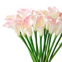 """Meide Group USA 25"""" Large Handmade Real Touch Latex Calla Lilly Artificial Spring Flowers for Arrangements, Bouquets, Weddings, and centerpieces (Pack of 5) (Pink and White)"""