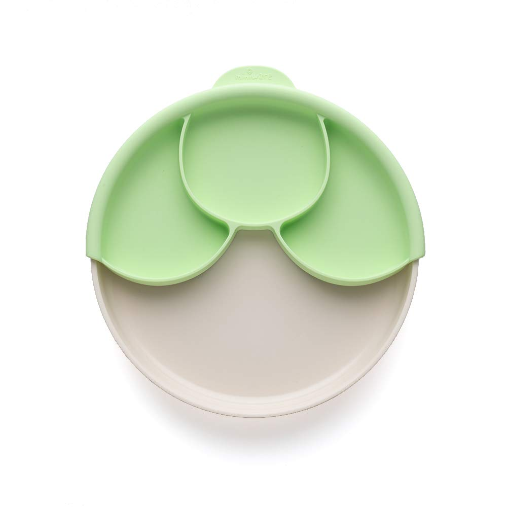 Miniware Healthy Meal Set with Sandwich Plate, Divider, and Detachable Suction Foot for Baby Toddler Kids - Promotes Self Feeding | Eco-Friendly and BPA Free | Dishwasher Safe (Vanilla, Key Lime)