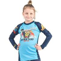 Fusion Fight Gear Sponge Bob Vintage Surf Kids Rash Guard Compression Shirt - Long Sleeve
