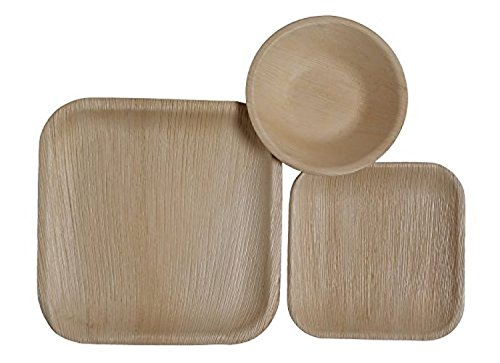 CaterEco Square Palm Leaf Dinnerware Set   Pack of 75- (25) Dinner Plates, (25) Salad Plates and (25) Bowls   Ecofriendly Disposable Dinnerware   Heavy Duty Biodegradable Party Utensils