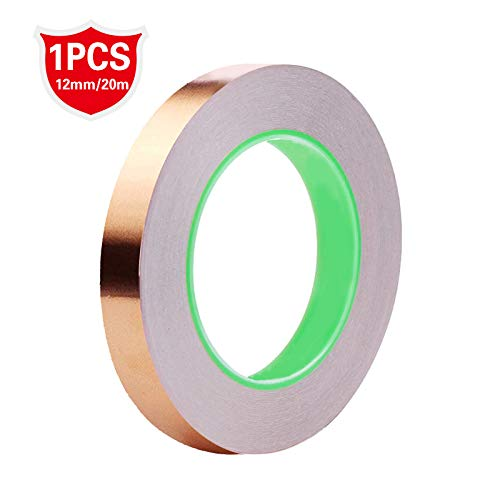 Copper Foil Tape, Double-Sided Conductive Copper Tape Adhesive for EMI Shielding,Slug Repellent,Paper Circuits,Electrical Repairs,Grounding12mmx21.9yards