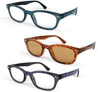 Primary Optics Classic Women's Oval Spring Hinge Reading Glasses with One Computer Lens Reader, Blue, Leopard, Purple +1.5