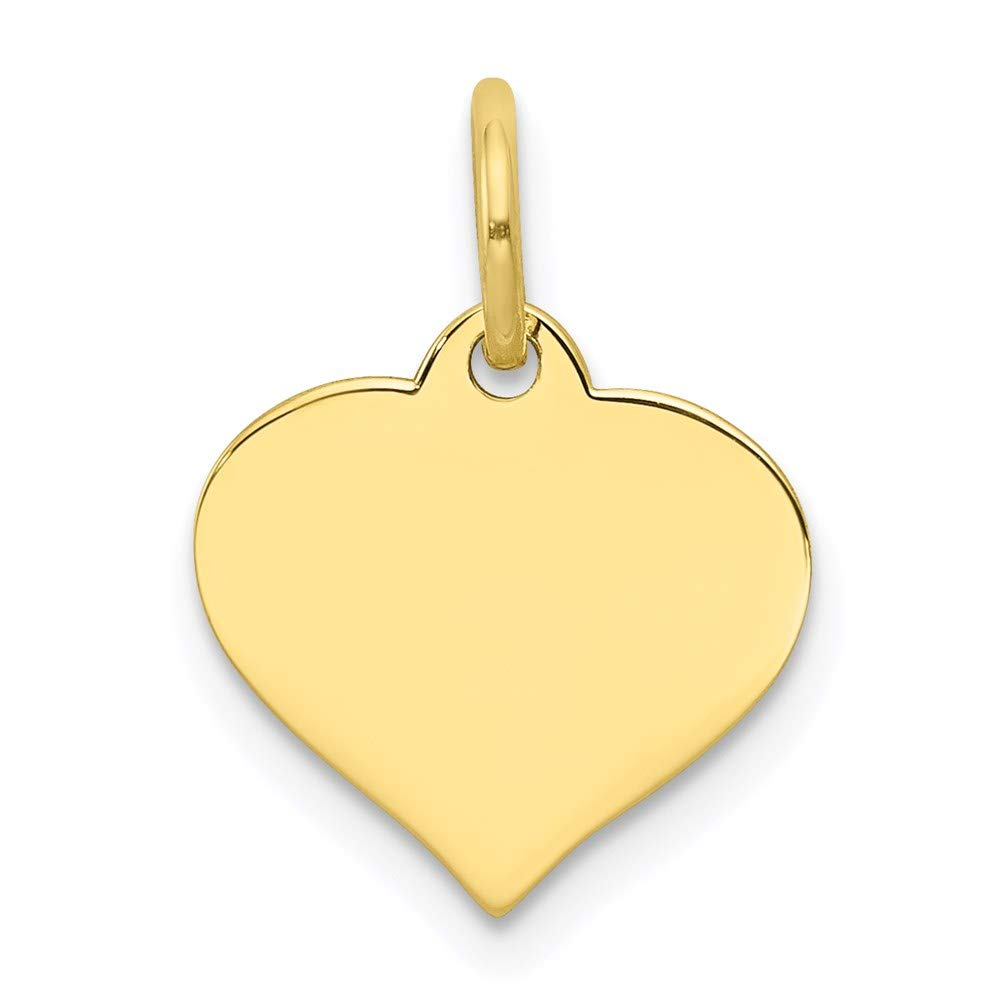 10k Yellow Gold .018 Gauge Heart Disc Pendant Charm Necklace Engravable Curved Shaped Fine Jewelry For Women Gifts For Her