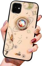 Aulzaju Case for iPhone 11 6.1 Inch, iPhone 11 Bling Hybrid Cover Raised TPU Edge Hard PC Back Case for iPhone 11 with Shiny Moon Ring Stand[Anti-Yellow and Jewels Never Come Off]-Gold
