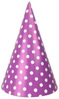 Just Artifacts Childrens Party Cone Hats 12pcs Polka Dot Lavender