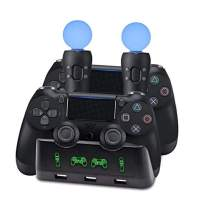 Hdiwousp 4 in 1 PS Move Charging Dock, ps4 Controller Charger, Desk Charger Dock Quad Charging Station for PS4 VR Wireless Controller and Playstation 4 Slim PS4 Pro,with USB Charger Port
