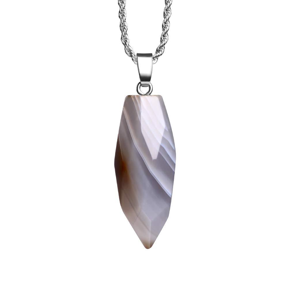 Natural Gemstone Pendant Necklace Healing Crystal Quartz Reiki Chakra Gem Stones 18 Inch Jewelry Women Girls Men Birthday Gifts 24'' Stainless Steel Chain