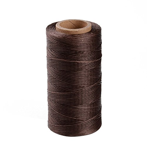 Pandahall 1Roll/260m/284Yards 1x0.3mm Flat Waxed Polyester Cords Macrame Bracelet Beading Thread SaddleBrown