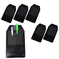 DE 6 Pcs Black Vinyl Pocket Protector for Pen Leaks