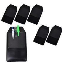 DE 6 Pcs Black Vinyl Pocket Protector for Pen Leaks