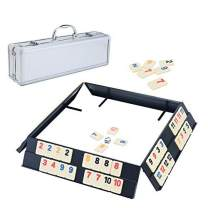 Ksamor Rummy Game Set - Colored Rummy Game with Durable Tiles and Trays, Well Painted Rummy Cube 106 Tiles with Aluminum Case for Kids and Families