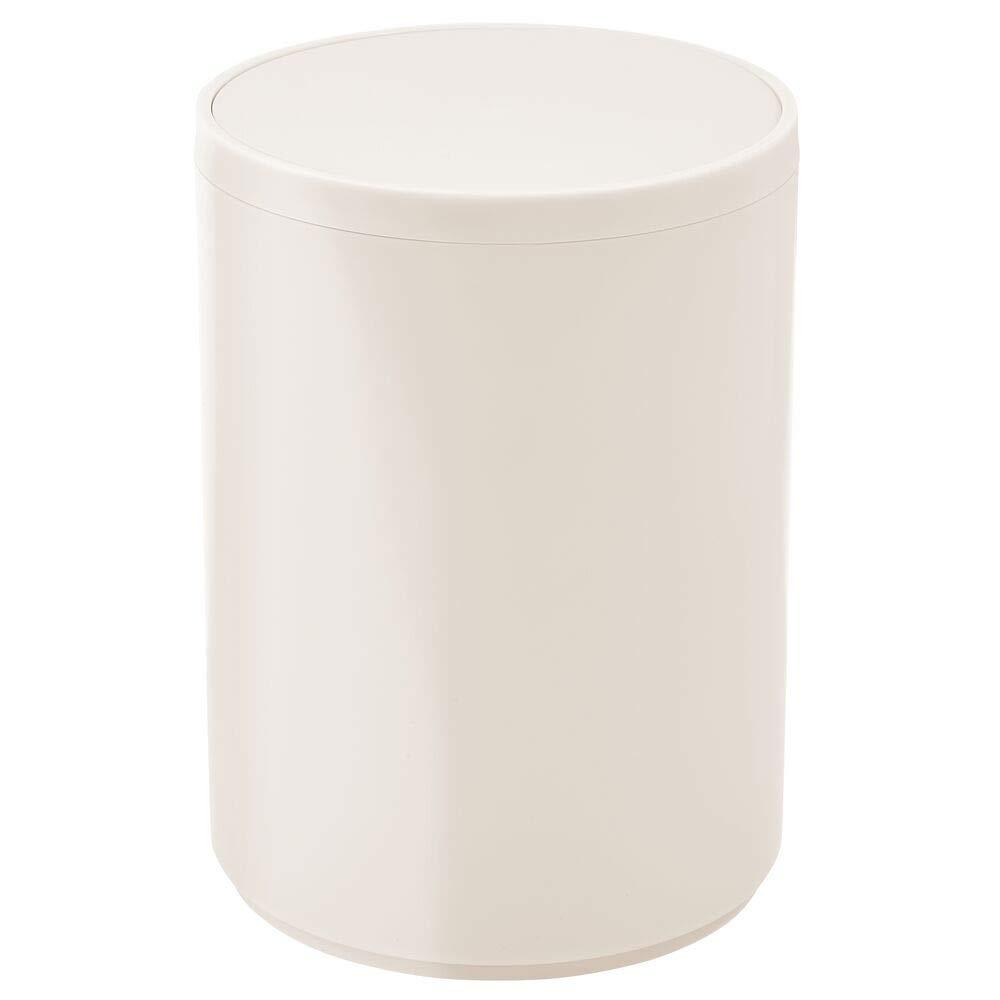 mDesign Round Swing Trash Can Wastebasket, Garbage Container Bin - for Bathroom, Powder Room, Bedroom, Kitchen, Craft Room, Office - Removable Liner Bucket - Cream/Beige