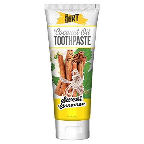 New The Dirt Sweet Cinnamon Coconut Oil Toothpaste | All Natural with Essential Oils, MCT Oil, Fluoride Free | Sweet Cinnamon 6 Month Supply