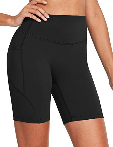 "BALEAF Women's 7"" High Waist Buttery Soft Biker Shorts Tummy Control Yoga Workout Shorts with Pockets Black XXXL"