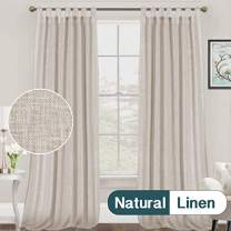 FantasDecor Light Filtering Natural Linen Curtains Casual Flax Curtain Drapes for Living Bedroom Tab Top Window Draperies Privacy Added, Set of 2 Panels, Extra Long 52 by 108 Inches, Stone