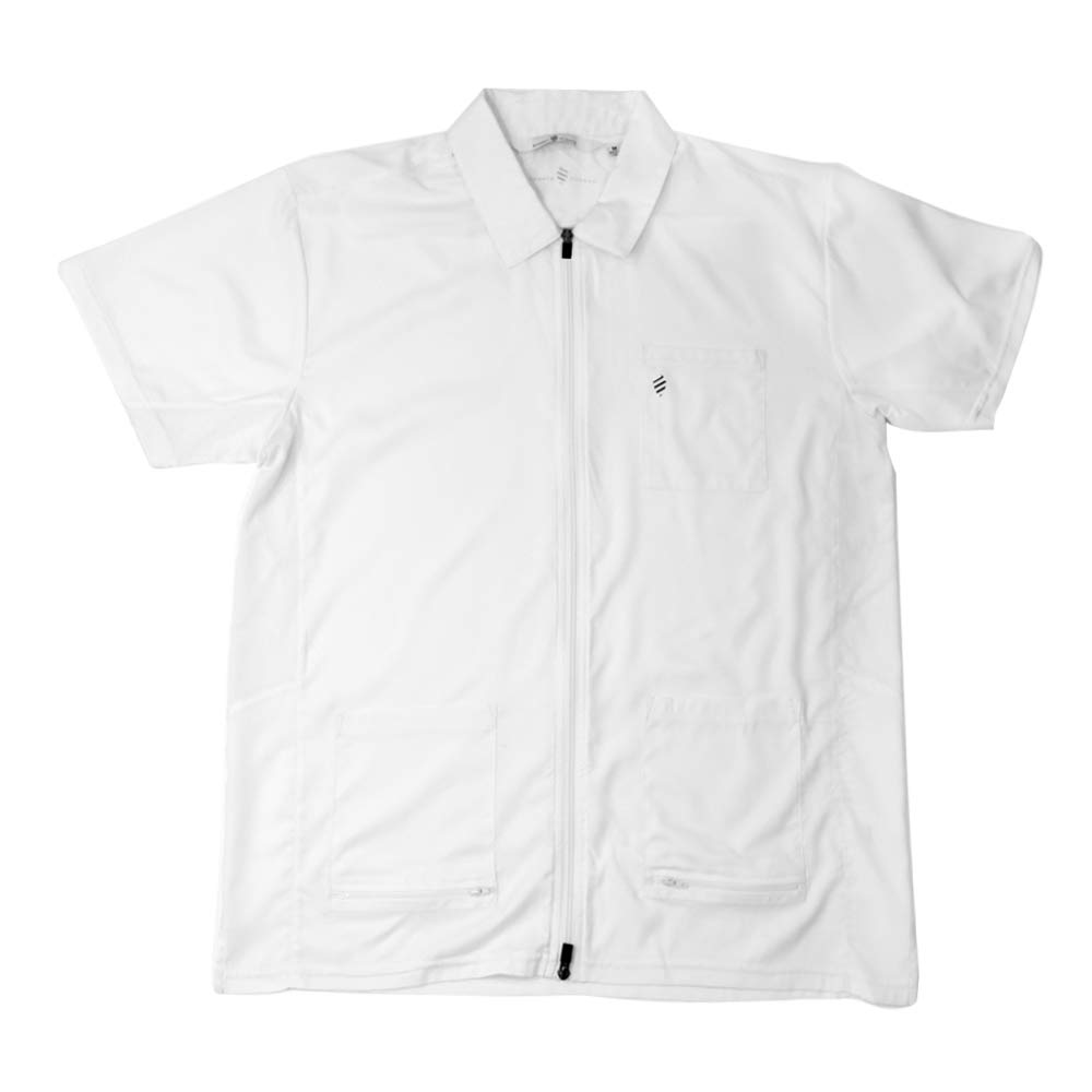 Barber Strong The Barber Jacket, Men's White, Hair Repellent, Lightweight and Breathable Vented Side Panels, Features Easy Hair Removal and 2-Way Zipper Closure, Size XL