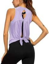 Sexy Yoga Tops Workout Tops for Women Summer Open Back Cute Fitness Shirts Stretchy Tie Back Sport Tank Tops Light Purple XS