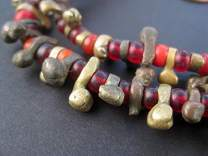 TheBeadChest Antique Nigerian Brass Beads 11mm African Unusual Large Hole 23-24 Inch Strand Handmade