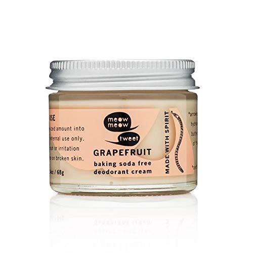 Meow Meow Tweet Natural Deodorant for Sensitive Skin - Baking Soda Free Deodorant Cream - Grapefruit