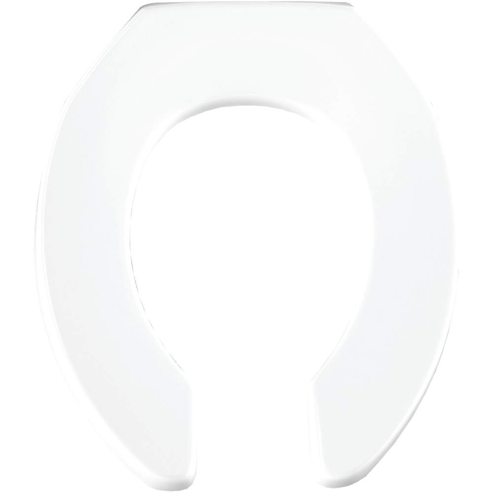 CHURCH 397CT 000 Commercial Extra Heavy Duty Open Front Toilet Seat without Cover, ROUND, Plastic, White