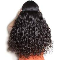 Sakalaka 9A Brazilian Water Wave Bundles With Closure (20 22 24+18) Free Part 100% Unprocessed Wet And Wavy Curly Human Hair Weave Bundles With Closure Natural Colour