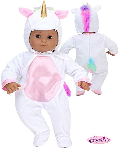 Unicorn Costume for 15 Inch Doll   Features Pink Rainbow Hair   Soft White 2 Pieces Unicorn Costume for Dolls
