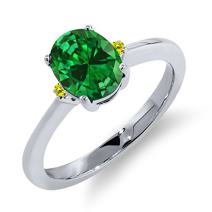 Gem Stone King 2.13 Ct Oval Green Simulated Emerald Canary Diamond 925 Sterling Silver Engagement Ring